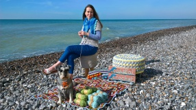 Eleonora on the beach with crochet