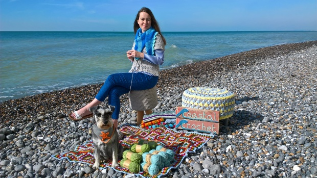 Eleonora on the beach with crochet